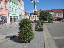 Nové květinové věže na náměstí.
